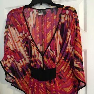 Tops - Butterfly Kimono Sleeve Top w Black Sash/Tie Waist